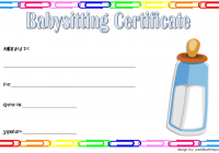 Babysitting Certificate Template 3