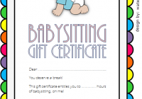 Babysitting Gift Certificate Template 1 FREE