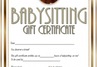 Babysitting Gift Certificate Template 5 FREE