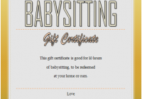 Babysitting Gift Certificate Template 6 FREE