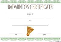 Badminton Certificate Template 1