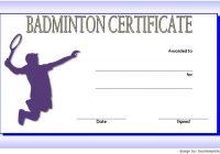 Badminton Certificate Template 2
