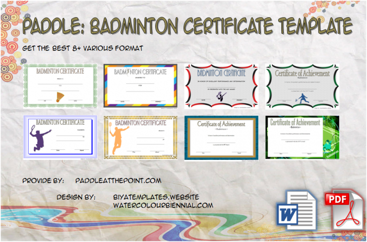 Permalink to Badminton Certificate Template – 8+ Latest Designs Free