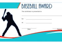 Baseball Award Certificate Template for Sportsfest