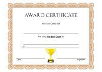 Best Coach Certificate Template 3