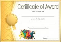 Best Coach Certificate Template 7