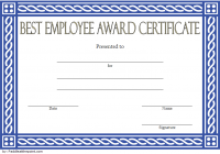 Best Employee Certificate Template 1