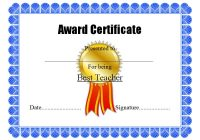 Best Teacher Certificate Template 7