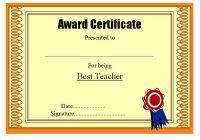 Best Teacher Certificate Template 8