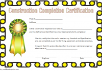 Certificate of Construction Completion Template 1