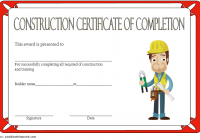 Certificate of Construction Completion Template 5