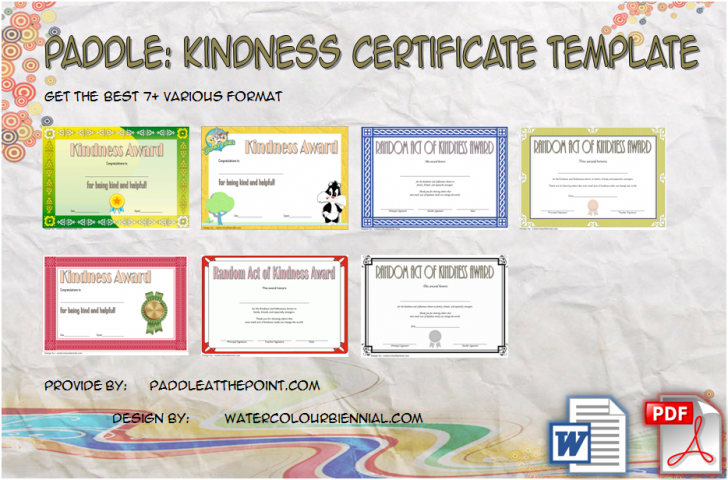 Permalink to Certificate of Kindness Template: 7+ Editable Designs FREE