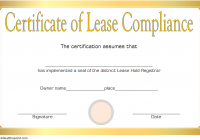 Certificate of Lease Complience Template 1