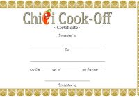 Chili Cook Off Certificate Template 7
