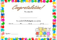 Congratulations Certificate Template for Pre-K Graduation