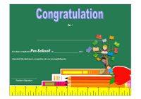 Congratulations Certificate Template for Preschool Diploma