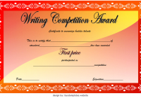 Contest Winner Certificate Template for the 1st Writing Competition