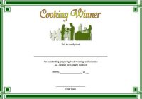 Cooking Competition Certificate Template 3