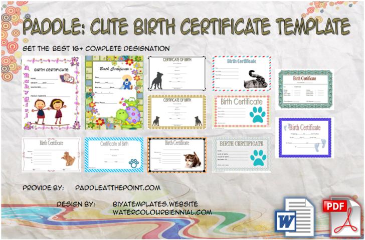 Permalink to Cute Birth Certificate Template