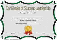 Excellence Student Leadership Certificate Template 1
