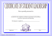 Excellence Student Leadership Certificate Template 4