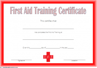 First Aid Training Certificate Template 1