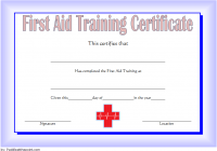 First Aid Training Certificate Template 2