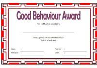 Good Behaviour Award Certificate 1