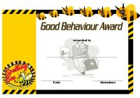 Good Behaviour Award Certificate 3