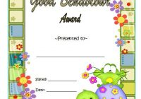 Good Behaviour Award Certificate 9