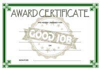 Good Job Certificate Template 7