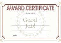 Good Job Certificate Template 8