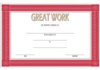 Great Work Certificate Template 3
