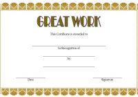 Great Work Certificate Template 4
