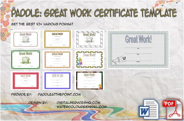 Permalink to Great Work Certificate Template – 10+ Outstanding Designs