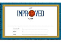 Most Improved Player Certificate Template 1