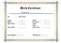 Official Birth Certificate Template 1