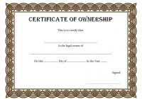Ownership Certificate Template 1