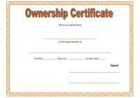 Ownership Certificate Template 2