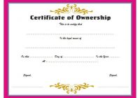 Ownership Certificate Template 8