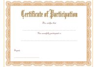 Participation Certificate Template 1