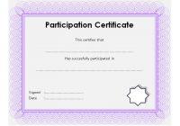 Participation Certificate Template 8