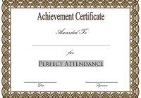 Perfect Attendance Certificate Template 2
