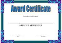 Perfect Attendance Certificate Template 4