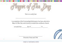 Player of The Day Certificate Template 2