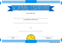 Printable Softball Certificate 4