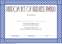 Random Act of Kindness Certificate Template 2