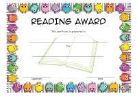 Reading Award Certificate Template 3