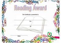 Reading Award Certificate Template