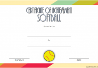 Softball Achievement Certificate Template 1